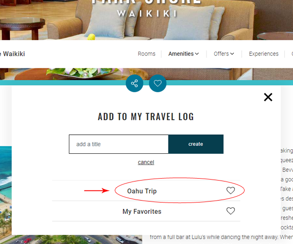 Add favorites to the new Travel Log