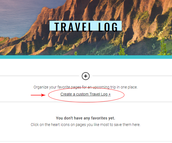 Click Create a Custom Travel Log